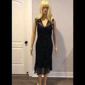 Tahari Black net dress with embroidery